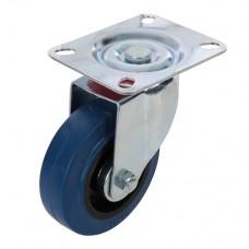 Swivel Elastic Rubber Castor 100mm 140kg Blue