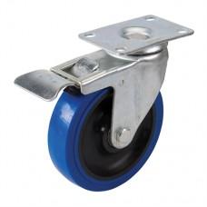 Braked Swivel Elastic Rubber Castor 125mm 180kg Blue