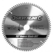 TCT Veneer Blade 80T 250 x 30 - 25, 20, 16mm Rings