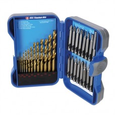 Titanium-Coated HSS Drill Bit & CRV Screwdriver Bit Set 29 pieces 1 - 7mm